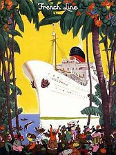 TRAVEL TRANSPORT FRENCH OCEAN LINER SHIP BOAT COLUMBIA JUNGLE POSTER LV4378