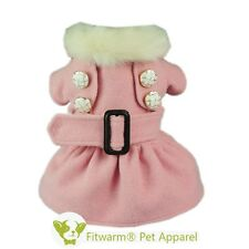 "Fitwrm 14""Chest Elegant Pink Dog Dress Small Pet Clothes Winter Coat Jacket Girl"
