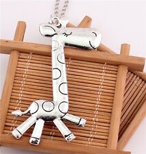 Charm Fashion Cute Animal Giraffe Silver Retro Pendant Long Chain Necklace Gift