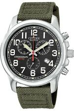 Mens Citizen Eco-Drive Military Canvas Chronograph Watch with Date AT0200-05E