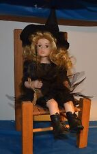 Porcelain Dress Up Witch Doll 10 inch with chair