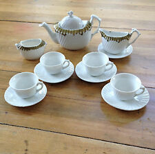 Childs 13 Piece White Porcelain Tea Set - Unmarked - Swirl Pattern with Gilding