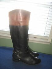 WOMEN'S ALEX MARIE TALL LEATHER RIDING BOOTS sz (8.5) BLACK & BROWN