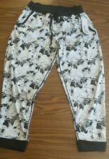 NWT Women's KYODAN White & Black Floral Loose Baggy Cropped Athletic Yoga Pants