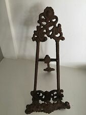 Vintage CAST IRON EASEL Metal Picture Frame Ornate Design Folding Decorative Art