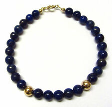 9ct Gold Bracelet 7.5 inch Genuine Lapis Lazuli Gemstone Beads with Gold Balls