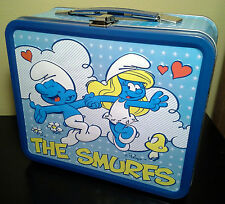 Smurf Metal Tin Lunchbox Peyo Schlumpf Schtroumpf Smurfette 80s Kids TV Cartoon