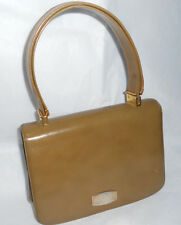 Vintage Koret Leather Purse Taupe Olive Hand bag gold accents Great shape 1950's