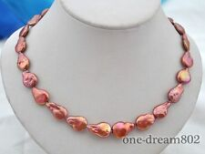"17.5"" 19mm baroque red freshwater pearl necklace"
