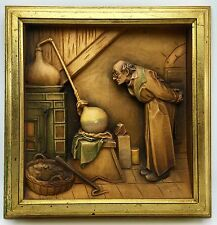 RARE ANRI Carl Spitzweg THE ALCHEMIST Wood Frame 3D Carved Wall Hanging