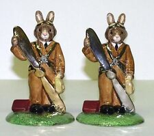 ROYAL DOULTON PAIR OF BUNNYKINS GOLD AND PLATINUM COLOURWAYS PILOT - LTD.ED. 25