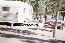 KODACHROME 35mm Slide Handsome Man Camping Trailers Old Cars Table Fashion 1963!