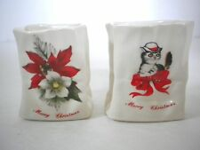 "Red Poinsettia & Cat Wearing Bowler Hat Ceramic Vase Bag Christmas 2.25"" x 2"""