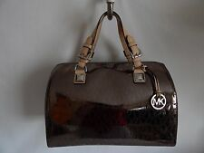 Michael Kors Metallic Grayson Large Satchel in Nickel