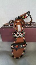 NIB 37.5 7.5 Valentino Studded Hand Painted Strappy Thong Sandals Tribal Stones