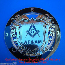 Freemason AF&AM Black And Silver Auto Rear Mason Emblem Blue Lodge Masonic Badge