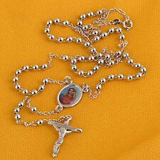 White Gold Filled Blessed Virgin Mary Cross Necklace stainless steel necklace