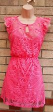 RIVER ISLAND CHELSEA GIRL FLORAL PAISLEY PINK LACE BELTED A LINE TEA  DRESS 8  S