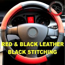TOYOTA AVENSIS VERSO YARIS RAV4 STEERING WHEEL COVER RED BLACK GENUINE LEATHER