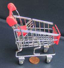 Dolls House Miniature Red & Chrome Shopping Trolley Cart & Baby Seat Accessory L