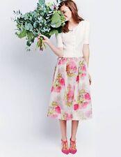 BNWT Boden Pandora Silk Skirt UK 16 R (US 12 EU 42 44) Pink Bloom