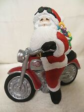 Ceramic Santa Claus Riding Harley Davidson Motorcycle Figurine