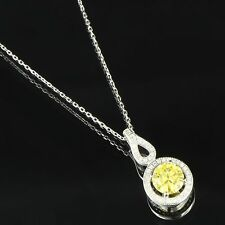 """Canary Solitaire Pendant Necklace Set Sterling Silver Cubic Zirconia Womens 18"""""""