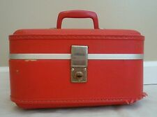 Vintage Small Red Train Case Overnight Make-up Travel Suitcase Luggage Bag