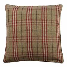 "TARTAN CHECK RED BROWN BEIGE WOVEN PIPED 20"" - 50CM  CUSHION COVER"
