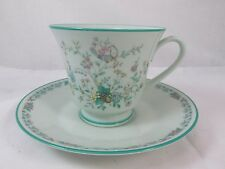 PARADISE Noritake Green China Footed Tea Cup & Saucer Dish JAPAN **EXCELLENT**