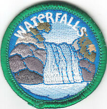 """WATERFALLS"" PATCH - NATURE - EARTH - WORDS -Iron On Embroidered Applique Patch"