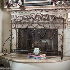 Indoor Adalia Black Brushed Gold Finish Wrought Iron Fireplace Screen