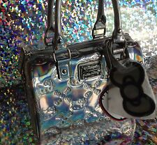 Hello Kitty Mini Duffle Embossed Bag - Silver Hologram
