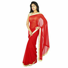 Indian Ethnic Party Wear Sari Designer Georgette Bollywood Wedding Saree Dress