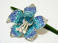 Fashion Cocktail Blue Crystals Silver Adjustable Ring Flower Organza Oversized