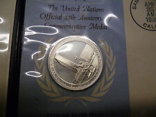 The United Nations Official 25th Anniversary Medal First Day Of Issue
