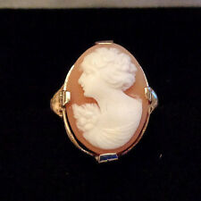 ANTIQUE EDWARDIAN OSTBY BARTON 10k SHELL CAMEO RING MALTESE CROSS TITANIC