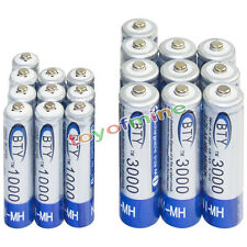 10 AA 3000mAh + 10 AAA 1000mAh battery Bulk Nickel Hydride Rechargeable 1.2V BTY
