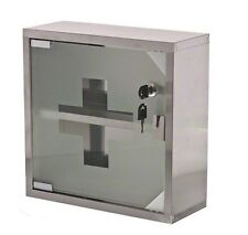 Locking First Aid Cabinet Medicine Case Stainless Steel with Glass door NEW!