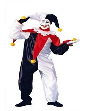 Adult Men's Jester Costume Funny Clown Punch Joker Mime Fancy Dress Party