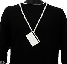 Men White Boom Box Radio Pendant Wood Hip Hop Ball Beaded 36 Inch Chain Necklace