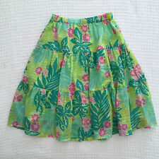 RARE LILLY PULITZER Cotton Floral Tiered Knee Skirt Summer Boho Lined Sz XS