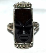 Vintage Mexican Sterling Silver Black Onyx Aztec Carved Mask Ring Sz 6.5