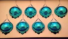 RARE Box 8 TEAL Vtg Shiny Brite Glass Xmas Ornaments Frosted Mica w Original Box