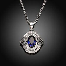Damenhalskette Ankerkette Zirkonia blau Herz oval pl. mit  Sterlingsilber