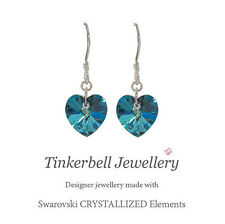 925 Sterling Silver Drop Earrings Swarovski Elements Bermuda Blue Crystal Heart