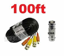100ft Security Camera Extension Video Power Cable BNC CCTV DVR Surveillance - Bl