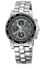 SEIKO CHRONOGRAPH ALARM DATE GRAY DIAL STAINLESS STEEL MEN'S WATCH SNAA63 NEW