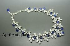 Vintage signed Kramer blue poured glass drops clear rhinestones bib necklace