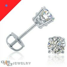 1/2 CT. 14K Gold-Real Diamond Stud Earrings-Round-Screw Backs-A.G.L. Certified